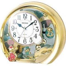 リズム時計 4SE504SR18 置き時計 目覚まし時計機能(電子音アラーム)付 左右飾り振り子付き ファンタジーランド504SR(ゴールド)
