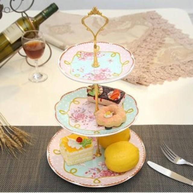 高級アフタヌーンティー用ケーキスタンドケーキ台ケーキ スタンド プレート 3段セット アフタヌーンティーフルーツトレー 皿フェミ