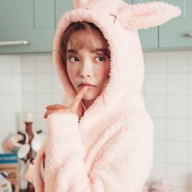 ルームウェア・部屋着 - tu-hacci 着る毛布 ルームウェア/うさ耳 もこボアガウン2color ホワイト/ピンク【tu-hacci】