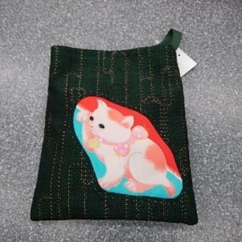 和布で創る小さなポシェット◆招き猫◆白に茶ブチ◆アンティーク錦紗◆紬