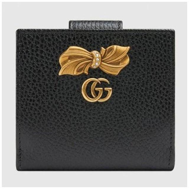 グッチ GUCCI ボウ レザー ウォレット(524298 CAOXT 1163)ライトピンク/ブラック 折財布 ギフト