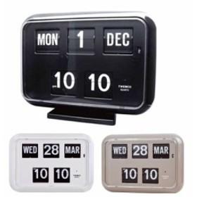 TWEMCO(トゥエンコ) 置き・掛け兼用 パタパタカレンダー時計 QD-35≪ホワイト≫