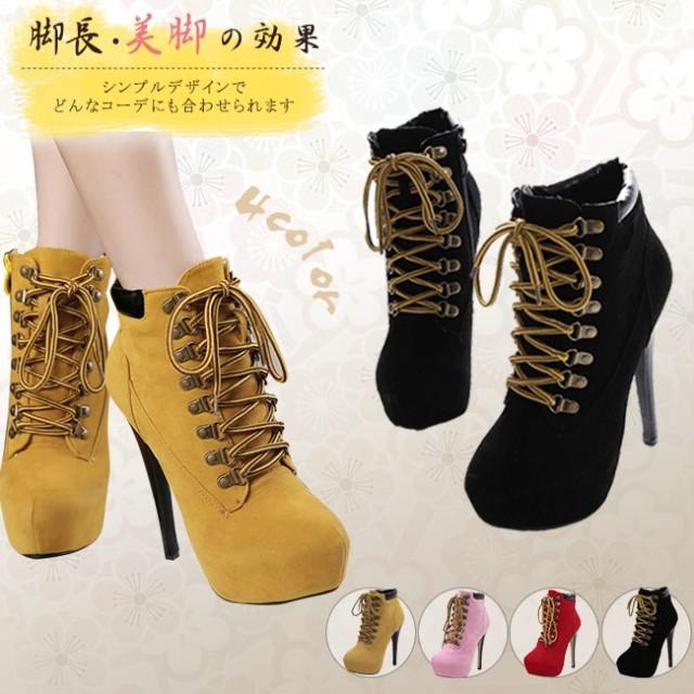 女性靴 シューズ ブーツ ブーティー ショートブーツ アンクルブーツ ファッション 韓国風 ハイヒール 大きいサイズ スエード レースアップ ストリート 前厚 ピンヒール セクシー