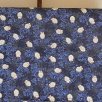 暖簾 受注製作 紺色フクロウ柄 幅広間口対応 新築・お引越し祝い 模様替えに