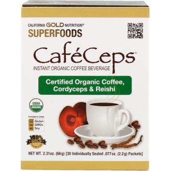 CafeCeps、ノムシタケ・レイシパウダー入り認証オーガニックインスタントコーヒー、30袋、各 .077 oz (2.2 g)