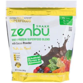 Zenbu Shake、ホエイプロテインスーパーフードブレンド、ココアパウダー入り、20.6 oz (585 g)