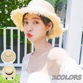 帽子 レディース 麦わら帽子 UV 折りたたみ帽子 つば広 ハット 紫外線対策 UVハット 夏 ストローハット uvカット帽子 オシャレ つば広