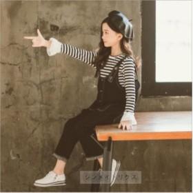 2019新作春秋 女の子 セットアップ ストライプTシャツ オールインワン キッズ オーバーオール サロペット 2点セット デニム パンツ