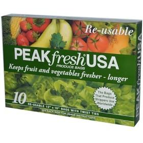 野菜・果物用バッグ、再利用可, 10 - 12インチ x 16インチバッグ, 口止めひも付き