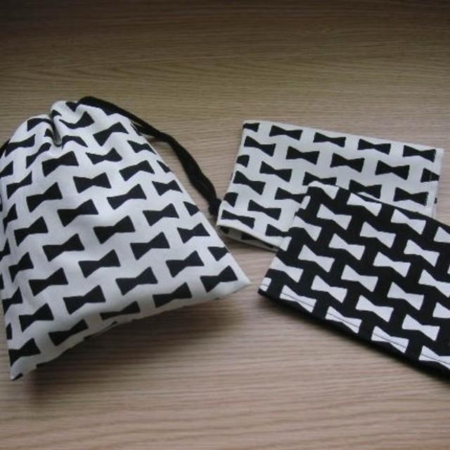 リボン柄×ドット/巾着&ランチョンマット2枚セット/白/入園入学
