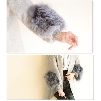 ワンピース - Sawa a la mode ファーでボリューム、大人可愛い。レディース ファッション カーディガン 長袖 クロップド丈 グレー フリーサイズ M L LLMサイズ Lサイズ LLサイズ 9号 11号 13号 15号 サワアラモード Sawa a la mode