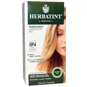 パーマネント ハーブへアカラージェル(Permanent Herbal Haircolor Gel), 8N, 薄いブロンド(Light Blonde), 4.56液量オンス(135 ml)