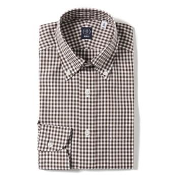 BEAMS F / ギンガムチェック ボタンダウンシャツ メンズ ドレスシャツ BROWN/13 40