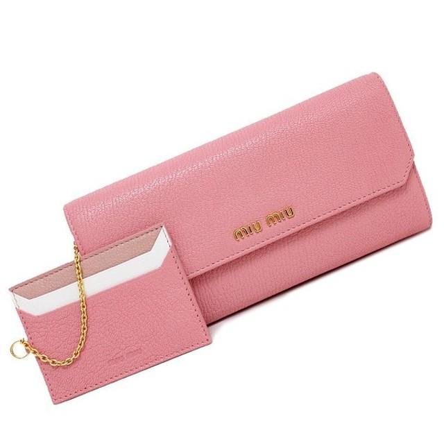 a54c09dc7a83 ミュウミュウ マドラス 二つ折り長財布 パスケース付き ピンク系 5MH379 (新品・