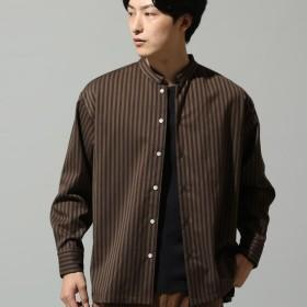ジュンレッド/シャドーストライプ2wayカラーシャツ/ブラウン系/S