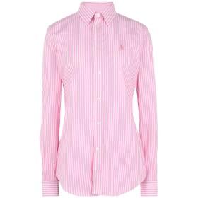 《期間限定セール開催中!》POLO RALPH LAUREN レディース シャツ ピンク 0 コットン 97% / ポリウレタン 3% Slim Stretch Fit Striped Shirt