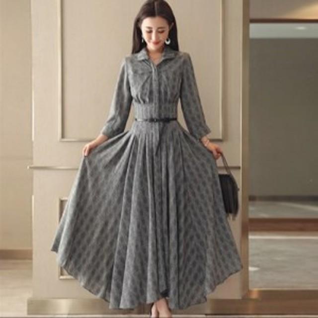A1126. グレンチェック ワンピース ドレス (モノトーン) パーティ 二次会 フレア 衿付き マキシ丈 七分袖 大きいサイズ セール セクシー