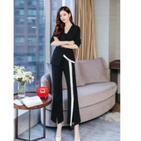 パンツスーツ パンツドレス セットアップ スリム ワイドパンツ スリット レディース 結婚式 二次会 お呼ばれ 20代 30代