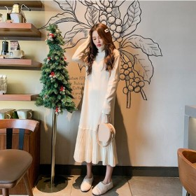[55555SHOP]タートルネックニットワンピース ★韓国ファッション★ 厚手の生地感 暖かい ハイネック ニットワンピース