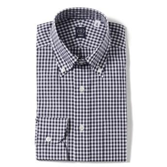 BEAMS F / ギンガムチェック ボタンダウンシャツ メンズ ドレスシャツ NAVY/12 42