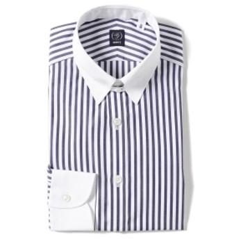 BEAMS F / ロンドンストライプ クレリックタブカラーシャツ メンズ ドレスシャツ NAVY/11 39