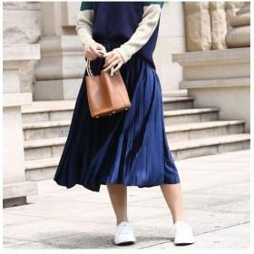アミュレット ウエストゴムプリーツスカート 韓国 ファッション レディース ゆったり かわいい おしゃれ 動きやすい レディース ネイビー F 【Amulet】