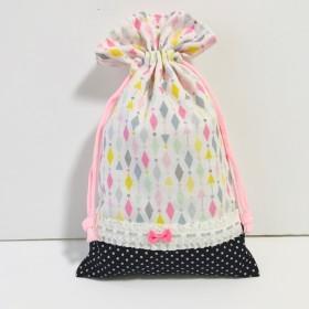 給食袋◆コップ袋◆巾着◆カラフル×黒ピンクドット◆32×20