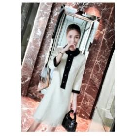cd9eada6a3899 ワンピース レトロ スカート ミニ丈 デート ツイード ドレス パーティー 二次会 結婚式 お呼ばれ シンプル 黒 白