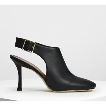 ワイドストラップ スリングバッグヒール / Wide Strap Slingback Heels (Black)