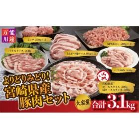 『豚肉の宝石箱~★』よりどりみどり宮崎県産豚肉セット(合計3.1kg)