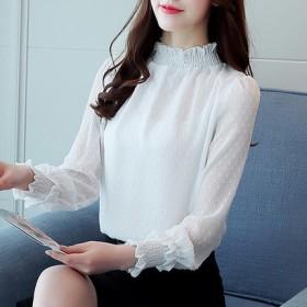 大人っぽいきれいめデザインのホワイトブラウス♪ トップス ブラウス シャツ 長袖 フリル 透け感 大人 綺麗 きれいめ オフィス 通勤 可愛い