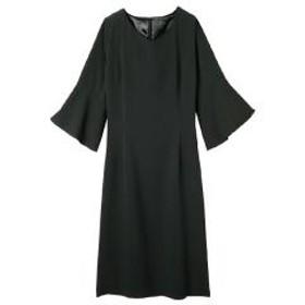 フリル袖レーススリットドレス