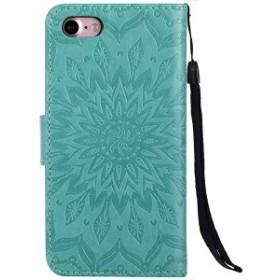 iPhone 8 ケース iPhone8 カバー アイフォン8 ケース 手帳型ケース かわいい押し花柄  ストラップ付き [選べる8色] スタン ...
