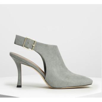 ワイドストラップ スリングバッグヒール / Wide Strap Slingback Heels (Sage Green)