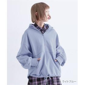 メルロー オーバーサイズハーフジッププルオーバー レディース ライトブルー FREE 【merlot】