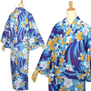 着物 - KIMONOMACHI 京都きもの町オリジナル 二部式着物「青色流水に花」洗える着物 レトロモダン Mサイズ 小紋柄
