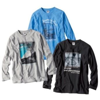 長袖プリントTシャツ3枚組(フォト風) Tシャツ・カットソー