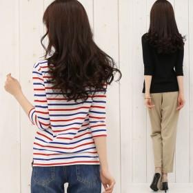 シャツ - honey on days ボートネックTシャツ コットン長袖 Tシャツ 7分袖 10分袖 カットソー レディース ロンT
