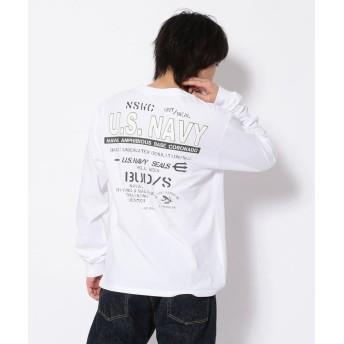 アヴィレックス USネイビークルーネックTシャツ/US NAVY PRINT T SHIRT メンズ WHITE XXL 【AVIREX】
