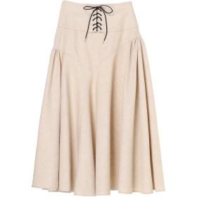 near. nippon リネン混 レースアップ フレアースカート ミモレ丈・ひざ下丈スカート,ベージュ