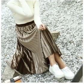 【9%OFF】 アミュレット ウエストゴムプリーツスカート 韓国 ファッション レディース ゆったり かわいい おしゃれ 動きやすい レディース カーキ F 【Amulet】 【タイムセール開催中】