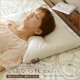 そばがら枕 低めタイプ 43×63cm ベーシック枕シリーズ 低い枕 (枕 ピロー まくら マクラ PILLOW 綿100% そばがら そば殻 高さ低め)