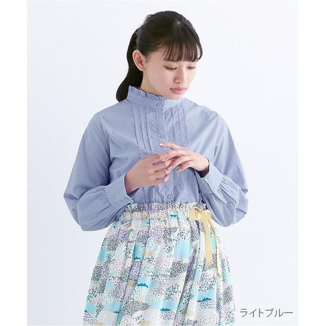 メルロー フリルスタンドカラータックシャツブラウス レディース ライトブルー FREE 【merlot】
