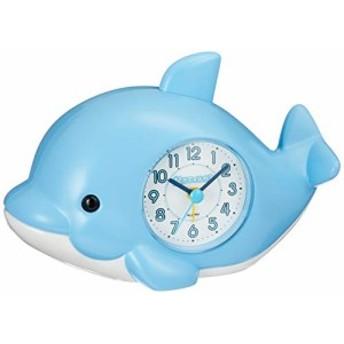 目覚まし時計 起きてイルカ ブルー リズム時計 4SE553SR04(未使用の新古品)