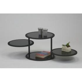 【代引不可】 ラウンドテーブル ブラック ガラス センター ロー テーブル スタイリッシュ リビ
