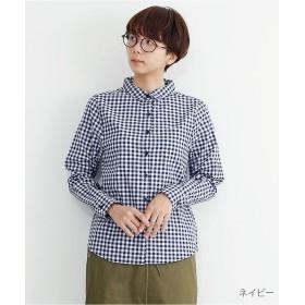 メルロー ギンガムチェック柄コットンシャツ レディース ネイビー FREE 【merlot】