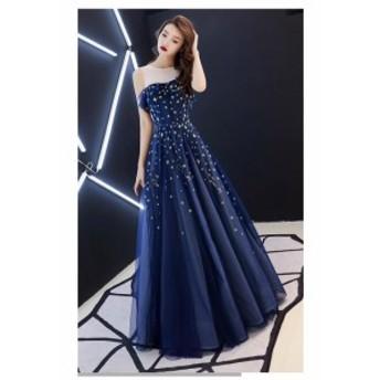 ロングドレス ウェディングドレス パーティドレス お呼ばれドレス 大きいサイズ 二次会 成人式 結婚式 マキシワンピース ネイビー