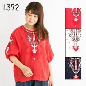 エスニックトップス 刺繍ブラウス エスニック ファッション レディース フリーサイズ アジアン Tシャツ7312BC1372