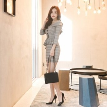 女性らしさ 春 オフショル チェック ドレス 海外 韓国 韓国ファッション 韓国スタイル レディース 韓国 プチプラ ⇒ 送料無料