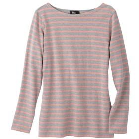 綿100%ボートネックボーダーTシャツ (大きいサイズレディース)Tシャツ・カットソー